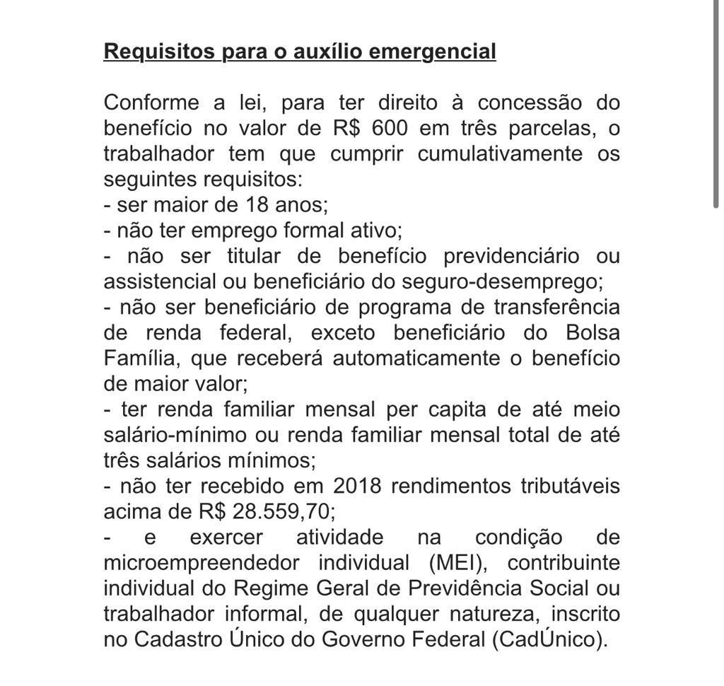Requisitos para o auxílio emergencial